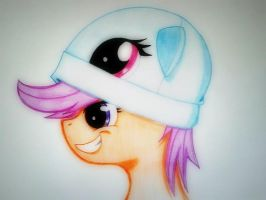 Scootaloo with a Rainbow Dash hat by GalaxyOtter77