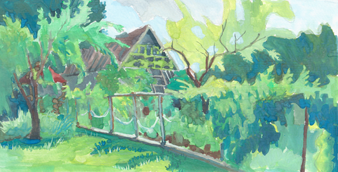 Neighbour's greenery on sunny morning by ringonoki