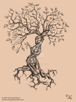 Tattoo DNA Tree with leaves