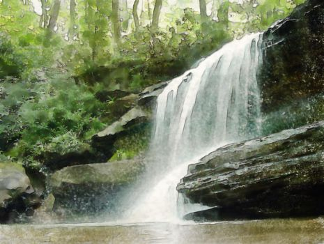 Waterfall in the Forrest by art-by-mike