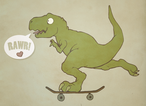 Skater Dinosaur in Love by MVRH