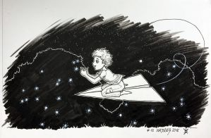 Inktober 2016 - 12: Catching Fireflies by Kirana