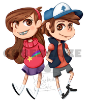 Mabel And Dipper by CubedCake