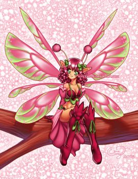 Lime Pink anime fairy by solipherus