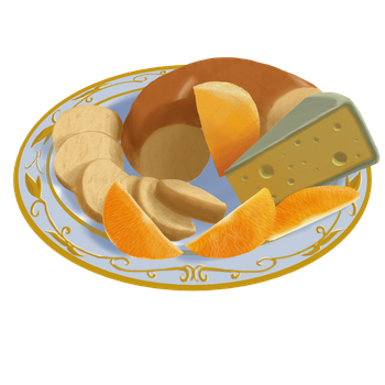 Bagel, Cheese, and Oranges by Feynt