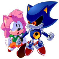 PC: Metal Sonic and Amy Rose by Zoiby