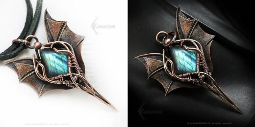 Dragon Pendant Copper and Labradorite by LUNARIEEN