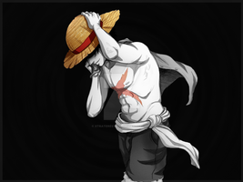 Luffy Hat and Scar by Xtraterestrial