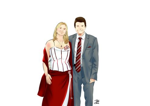Dessin couple en tenue invites mariage by Tchiiweb