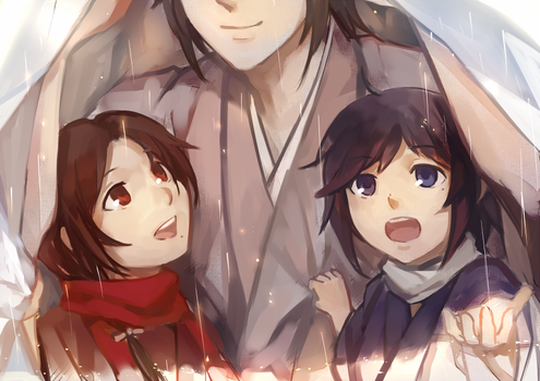 It's raining, Okita-kun! by feeshseagullmine