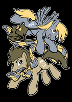 Derpy Hooves and Doctor Hooves by artwork-tee