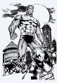 Deadpool Colossus  By Marcioabreu7-d9t5gdb Inks (1 by Pendecon