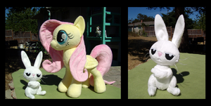 Fluttershy and Angel Bunny by fireflytwinkletoes