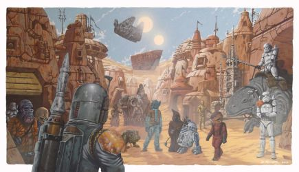 STAR WARS - Mos Eisley Scene by m1llgato5