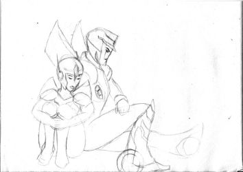 Prowl and MJ waiting for rescue by Fiarrella