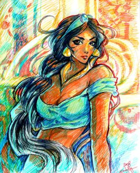 Jasmine Marker Sketch-up by emilynguyenart