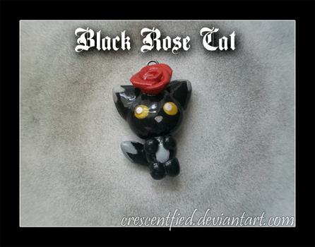 Black Rose Cat Charm by Crescentfied