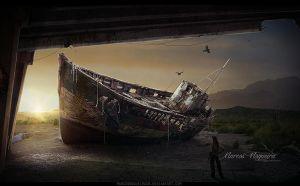 Boat in ruins by marcosnogueiracb