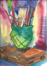 Still life with paint brushes by Kichisama666