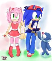 |Sun and Moon| Sonic and Amy by Cometshina