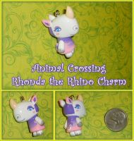 Animal Crossing - Rhonda Rhino Charm - Handmade by YellerCrakka