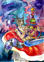 Cheshire cat Smoking a hookah. by zoiocen