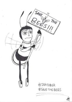 Inktoberfest: Barry Bee is protesting by JMK-Prime