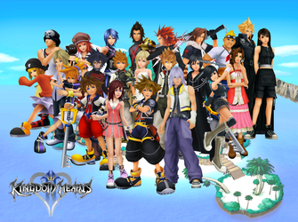Kingdom Hearts Character Collage / Desktop Wallpap by Lord-Zachael