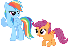 Rainbow Dash x Scootaloo Vector - Let's Do It! by Anxet