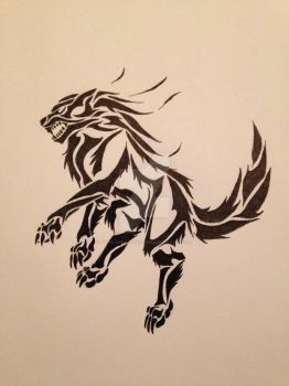 Tribal Wolf Design by AngelOfDarkness050