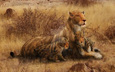 Smilodon populator and Cubs by Leogon