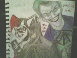 Batman /joker/Harley drawing by ThomasDrawsStuff