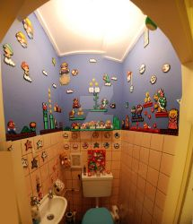 Super Mario perler beads bathroom by Delwynn