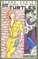 TMNT Sketch Cover April O'Neil Shredder by mentaldiversions