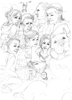 Dragon Age - Group Pic Sketch by greifvogel