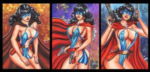 FEMFORCE BLUE BULLETEER PERSONAL SKETCH CARDS by AHochrein2010