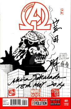 New Avengers Sketch Cover Godzilla by mentaldiversions