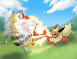 Flareon vs. Beedrill by Nazegoreng