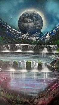 waterfall and mountain scene by darrenTyrie