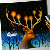 Light - deer drawing by Bajan-Art