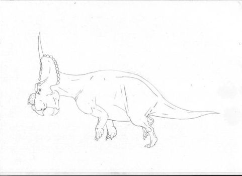 Line art Achelousaurus horneri by pilsator