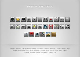 Pure White Icons Pack by Krokiart