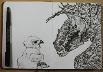 Harpy Eagle and Chick, low-key stippling! by Uj-Ju