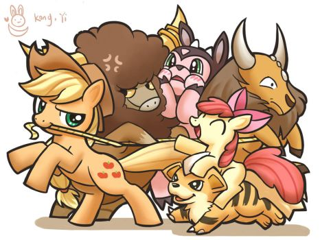 Cowboy applejack and Applebloomcow and cowkemon by kongyi