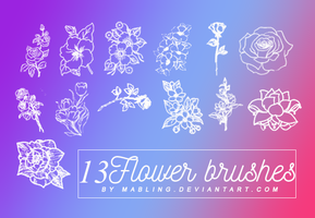 13 Flower Brushes by Mabling by mabling