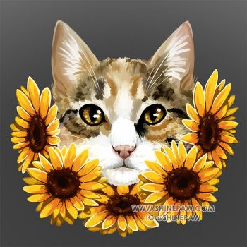 Cat with sunflowers - commission by ShinePawArt