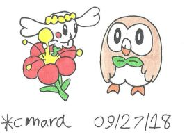 Flabebe and Rowlet