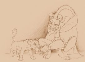 The Beast and Simba by Atarial