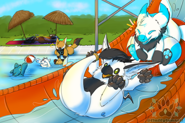 [Personal Art] Pool Party by FluffyLunarii