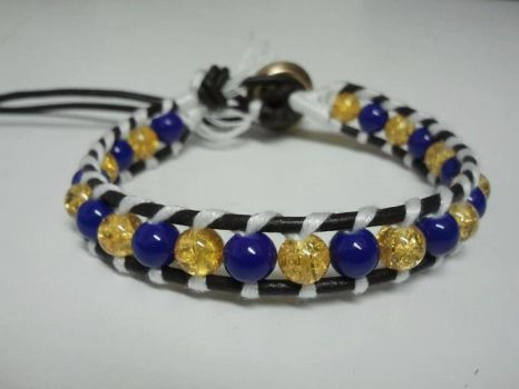 The Saffron Leather Beaded Ladder Bracelet by DitaLiebely